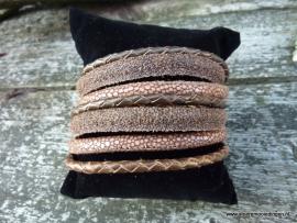Wikkelarmband bruin beige brons