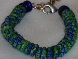 Armband glaskralen schijfjes groen blauw