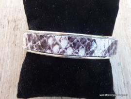 armband metaal grijs zwart slangenprint leder