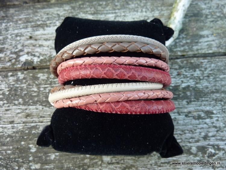Wikkelarmband roze-rood taupe beige