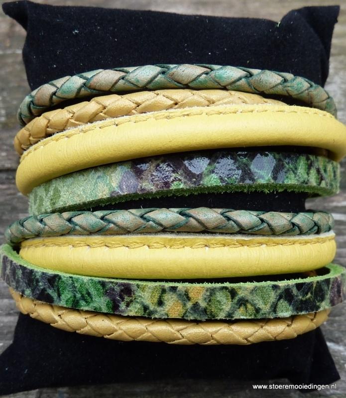 Wikkelarmband groen geel