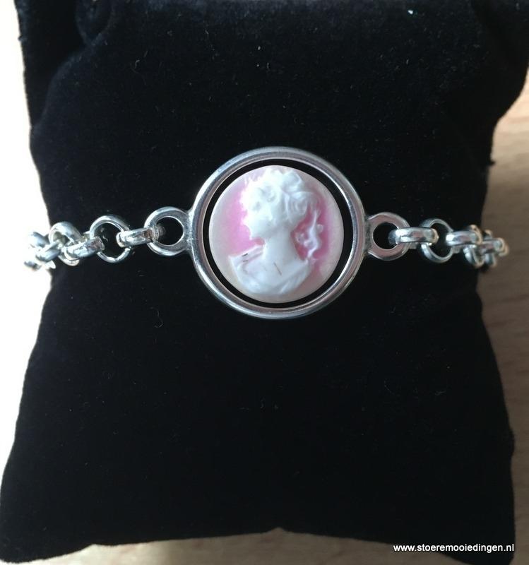 Camee lady roze schakelarmband