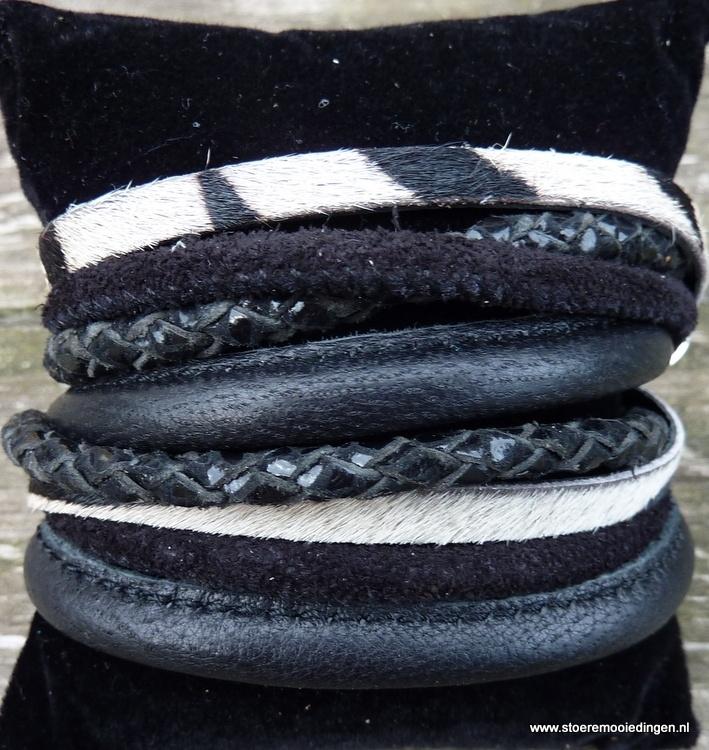 Wikkelarmband zwart bont zebra