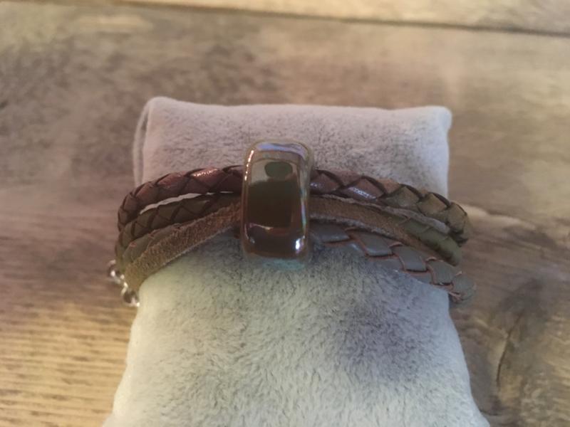 Armband legergroen grijs-groen
