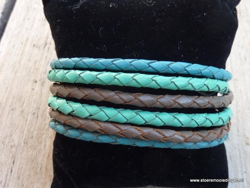 Wikkelarmband turqoise zeegroen taupe
