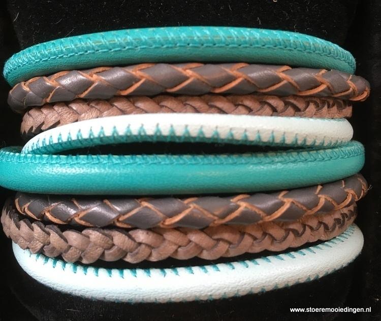 Wikkelarmband turqoise grijs lichtblauw