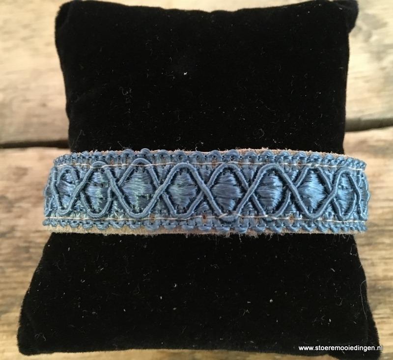 Ibiza style armband beige blauw