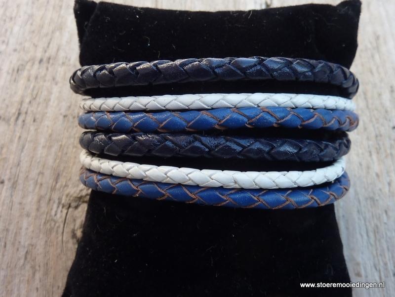 Wikkelarmband  wit en 2 kleuren blauw