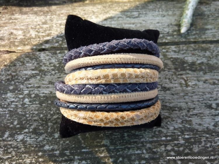 Wikkelarmband beige grijs blauw