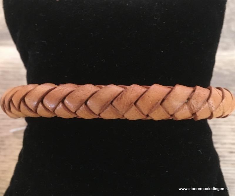 Armband rondgevlochten cognac