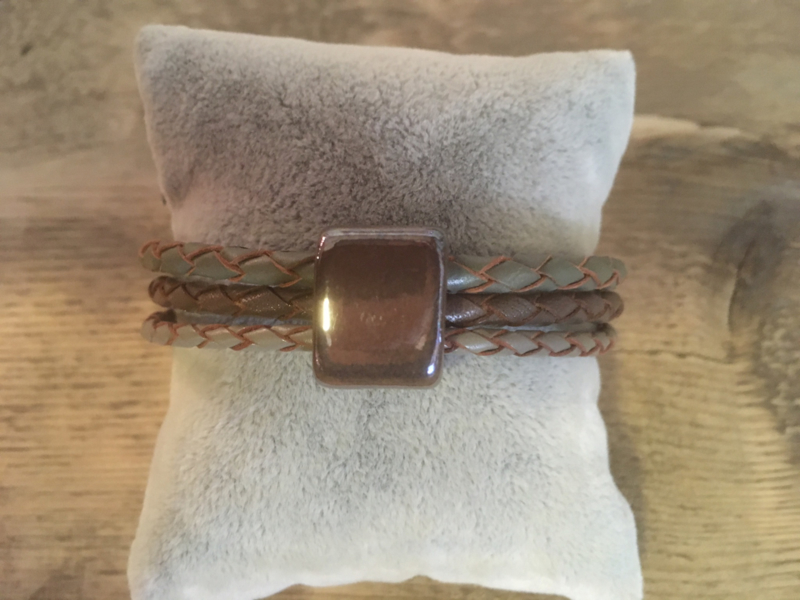 Armband taupe grijs-groen