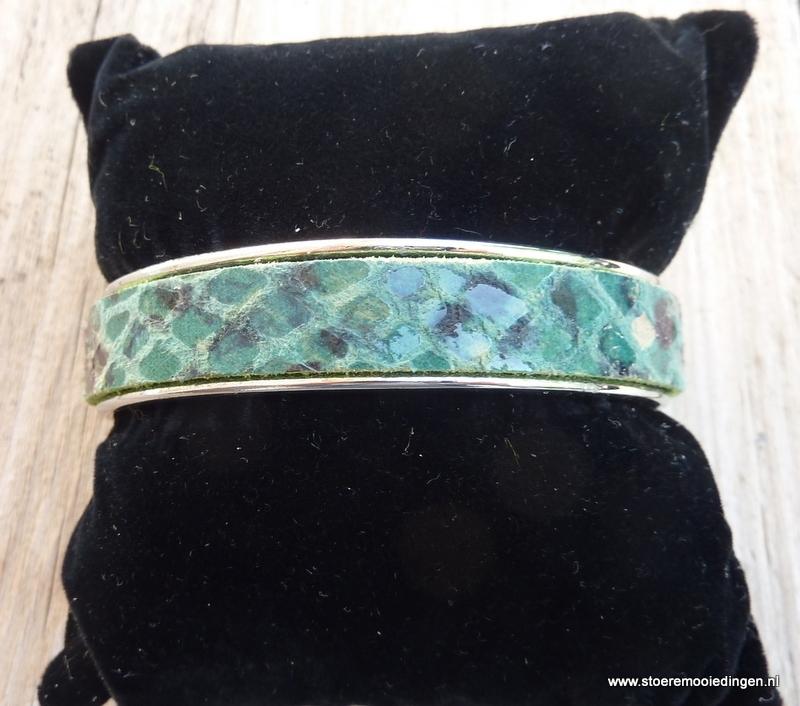 armband metaal groen zwart slangenprint leder