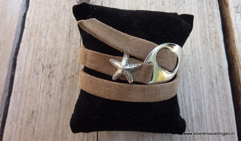 Gesp armband beige