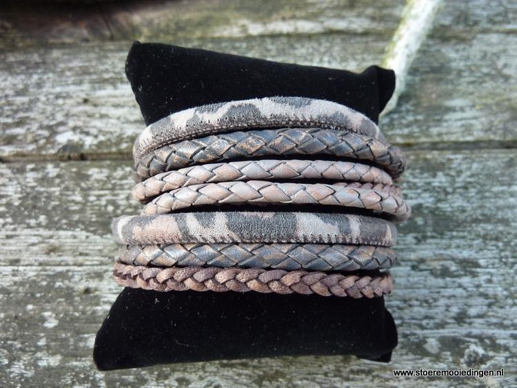 Wikkelarmband grijs roze