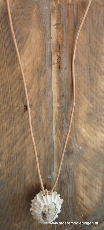 Schelp keramiek wit lichtblauw bruin