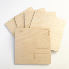 Wooden Post Cards Square - 5 pc