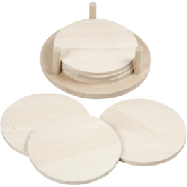 Wooden Round Coaster Set in Holder