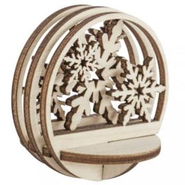 Houten 3D Kerstbal Vulling - Sneeuwvlok