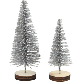 CHRISTMAS TREES 5 PIECES - SILVER