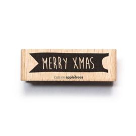 Houten Stempel - Merry Xmas Banner