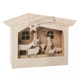 Wooden 3D Frame - Nativity Scene