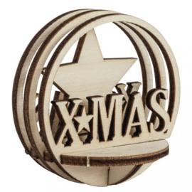 Houten 3D Kerstbal Vulling - XMAS