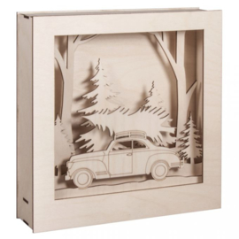 Wooden 3D Frame - Car & Tree