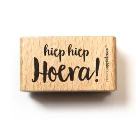 Houten Stempel - hiep hiep Hoera!