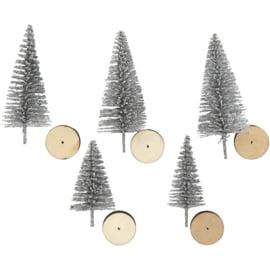 Kerstbomen 5 stuks - Zilver
