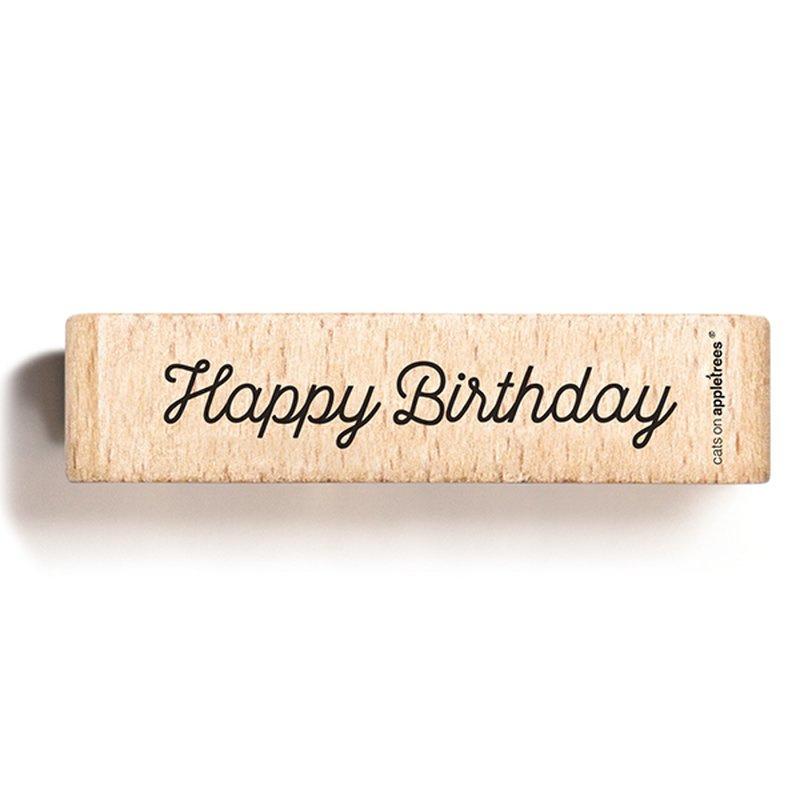 Wooden Stamp - Happy Birthday 2
