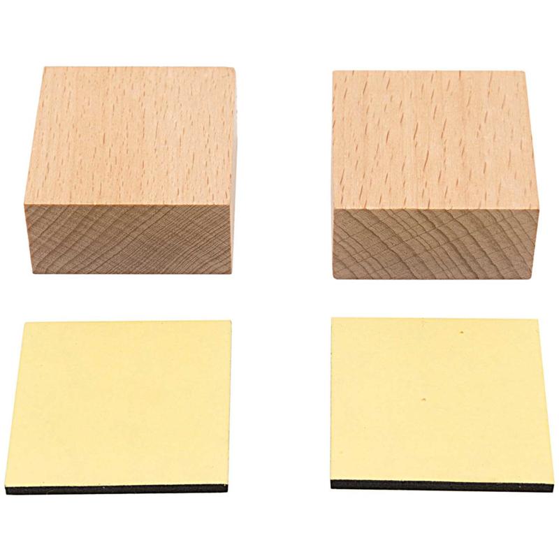 Houten Stempelblokjes Vierkant - 4x4 cm