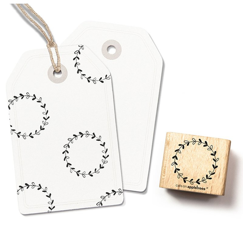 Wooden Stamp - Wreath Small