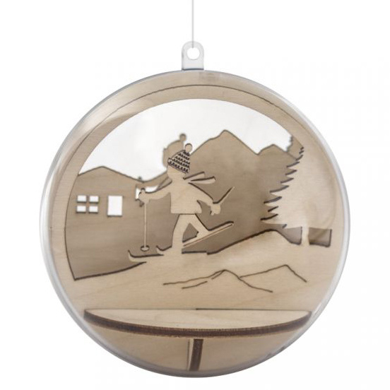 Houten 3D Kerstbal Vulling - Skiër