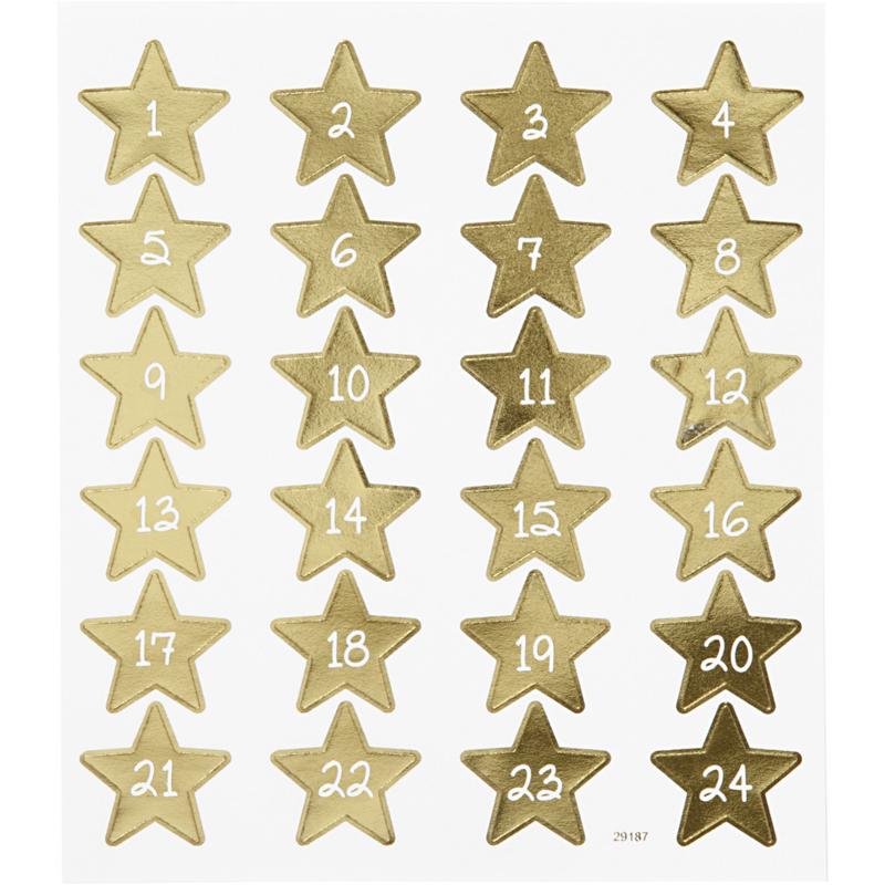 Adventskalender Stickers - Gouden Sterren