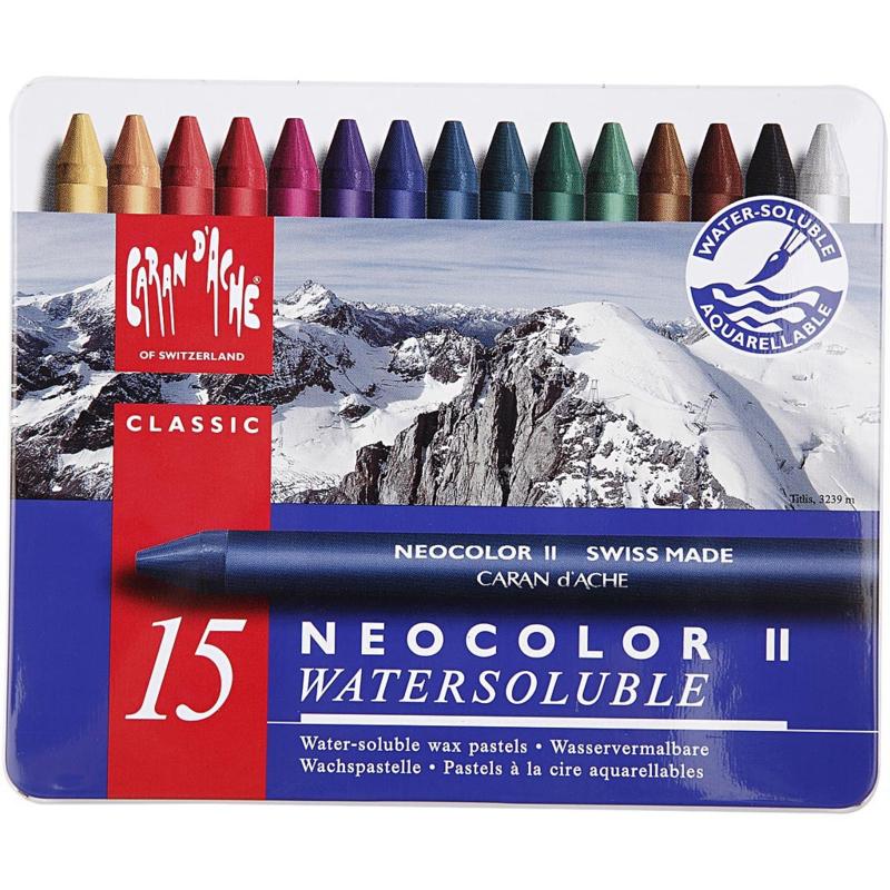 Neocolor 2, Caran d'Ache, Metalen doos 15 stuks.