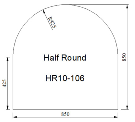 Kachelvloerplaat halfrond 850 x 850 x 6 mm