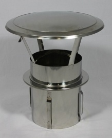 RVS zelfklemmende regenkap met opklapbaar deksel Ø140mm DA-140-CH-PT
