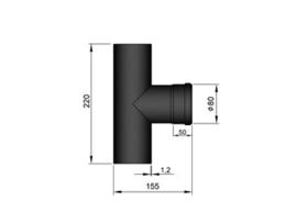 Pelletkachel T-stuk 80 mm met 1x mof ∅ 80mm 19-284