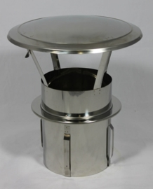 RVS zelfklemmende regenkap met opklapbaar deksel Ø120mm