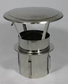 RVS zelfklemmende regenkap met opklapbaar deksel Ø100mm DA-100-CH-PT