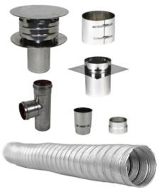 Compleet Flex Enkelwandig 80 mm 6 meters - (standaard met pellet T-stuk)