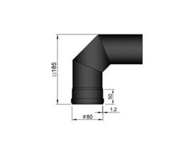 Pelletkachel bocht 90° ∅ 80mm 19-250