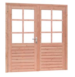 Douglas dubbele deur 6 ruits met dubbel glas onbehandeld