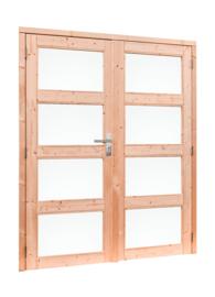 Douglas dubbele deur 4-ruits met melkglas