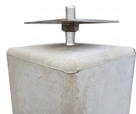 Betonpoer grijs 15 x 15 x 50 cm (taps) met huls en  verstelbare plaat