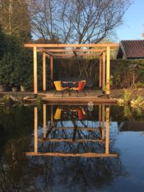 249) Complete tuinaanleg met Douglas overkapping, Pergola, Vlonder en bijbouw