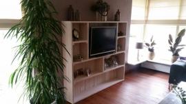 50) Boekenkast, tv kast en bloembakken