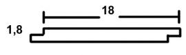 Halfhouts rabat 1,8 x 19,5 x 500 cm Blank Douglas