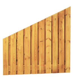 21-planks Grenen scherm 180 x 180/90 cm, verticaal aflopend