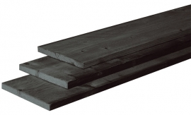 2,1 x 20 x 300 cm plank Douglas fijnbezaagd Zwart gedompeld